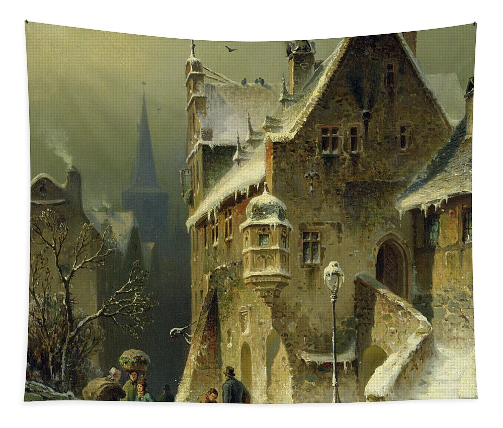 Schlieker Tapestry featuring the painting A Small Town In The Rhine by August Schlieker