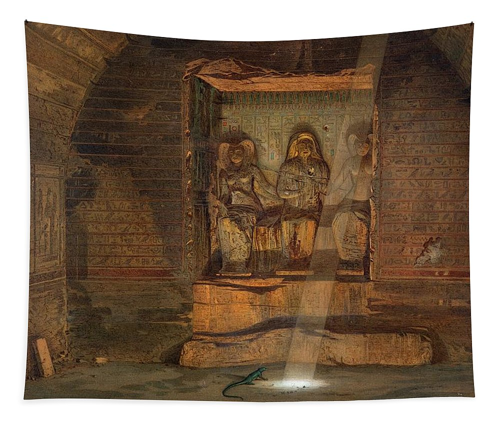 Nekheb Tapestry featuring the drawing A Tomb At El-kab, One Of 24 by Carl Friedrich Heinrich Werner