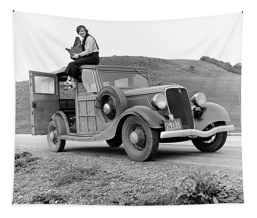 Woman Tapestry featuring the photograph A Trip In The 1930s by Mountain Dreams
