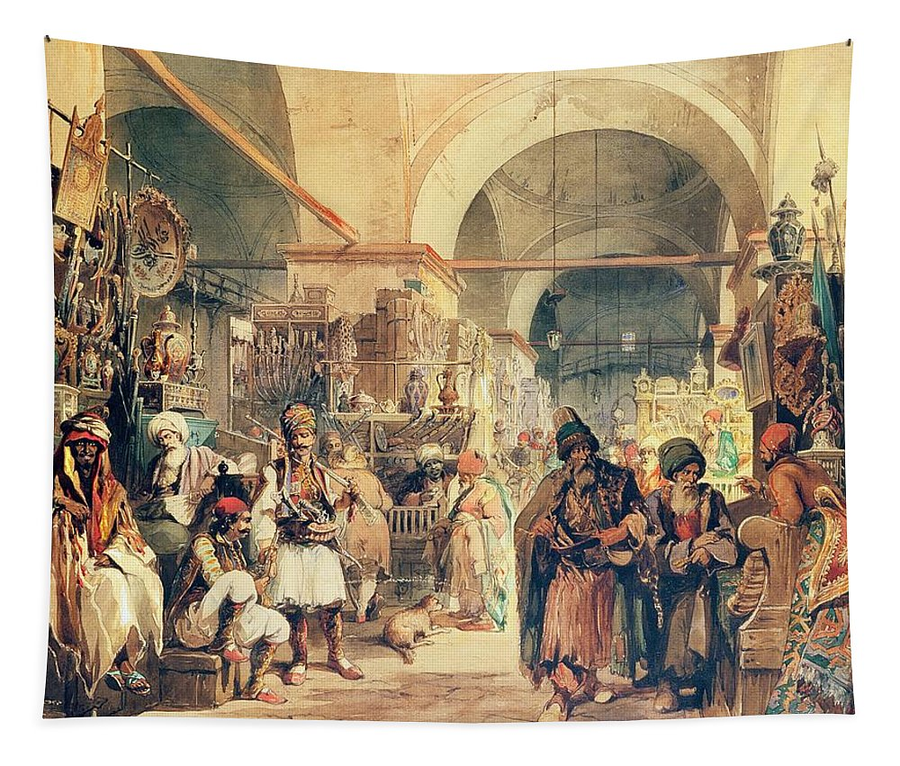 Market Tapestry featuring the painting A Turkish Bazaar by Amadeo Preziosi