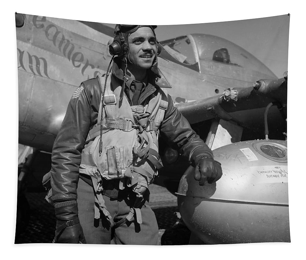 Pilot Tapestry featuring the photograph A Tuskegee Airman by Mountain Dreams