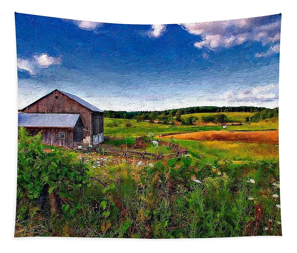 Landscape Tapestry featuring the photograph A Verdant Land Impasto Version by Steve Harrington