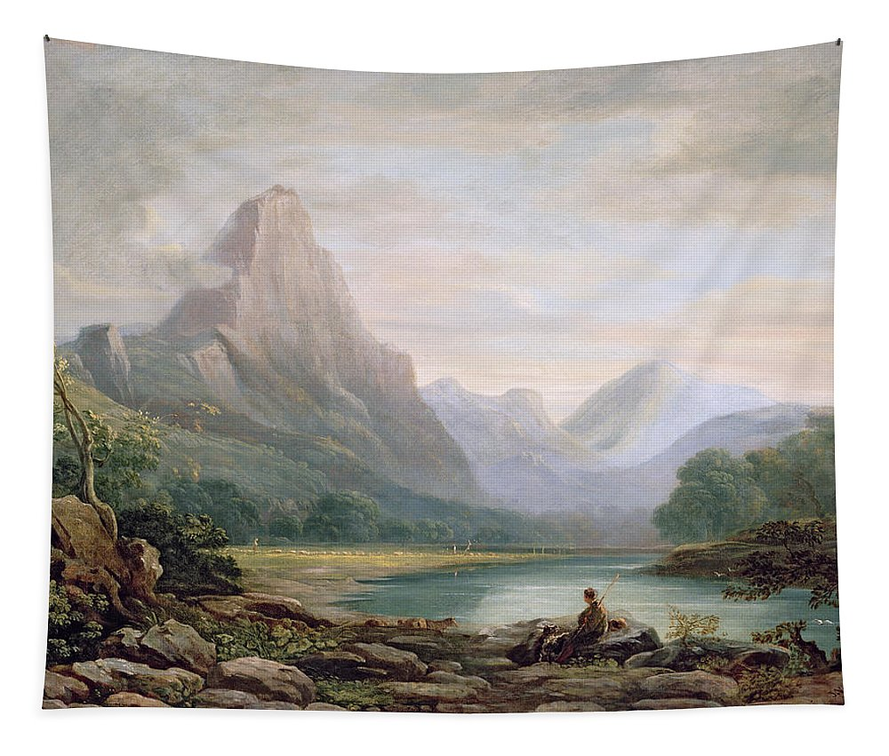 Landscape Tapestry featuring the painting A Welsh Valley, 1819 by John Varley