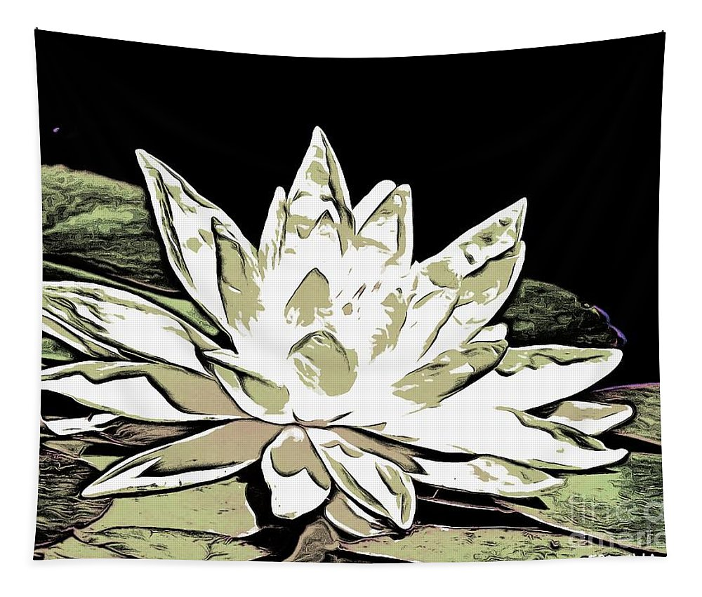Water Lily Tapestry featuring the digital art A White Water Lily by Dragica Micki Fortuna