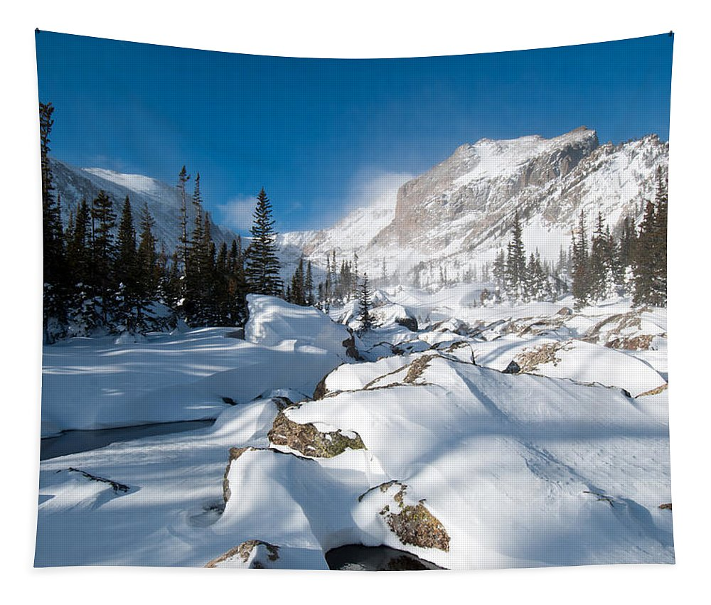 Colorado Tapestry featuring the photograph A Winter Morning In The Mountains by Cascade Colors
