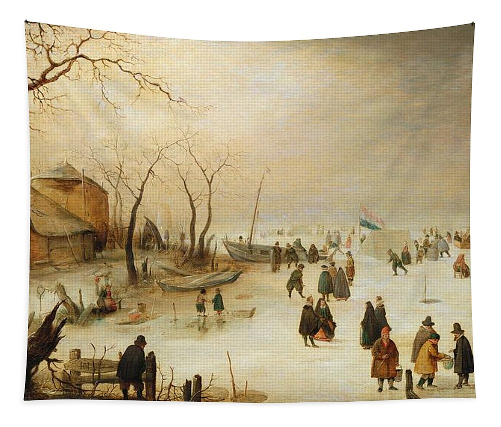 A Winter River Landscape With Figures On The Ice Frozen River; Netherlands; Holland; Golf; Sport; Boats; Hendrik Avercamp Tapestry featuring the painting A Winter River Landscape With Figures On The Ice by Hendrik Avercamp