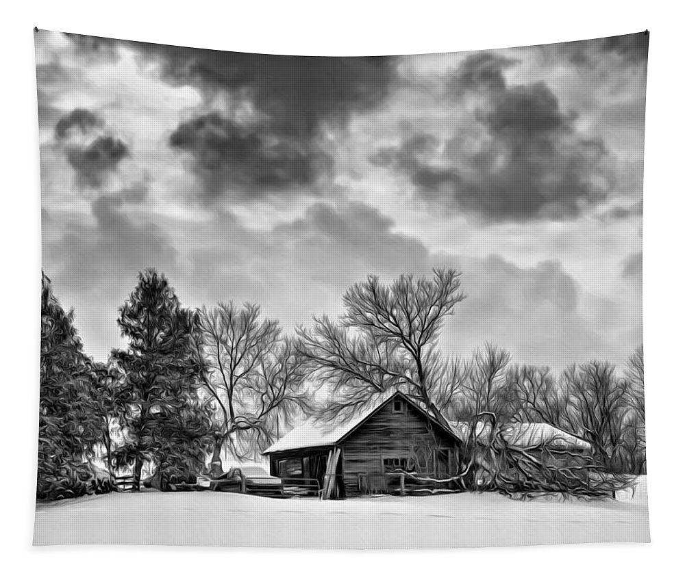 Winter Tapestry featuring the photograph A Winter Sky - Oil Bw by Steve Harrington