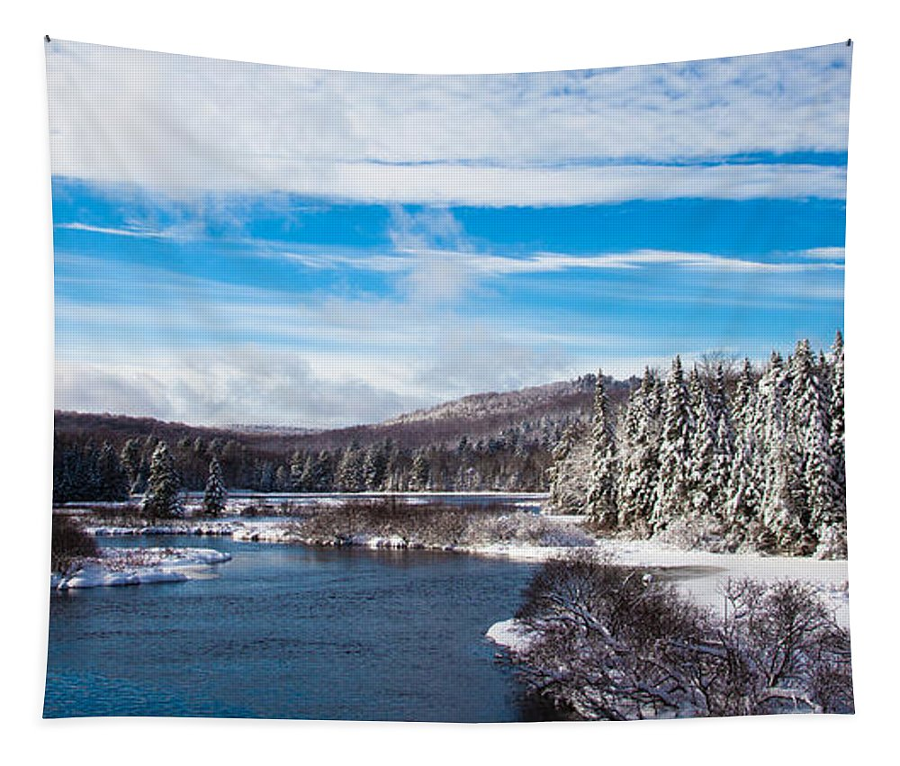 The Moose River In Early December Tapestry featuring the photograph A Winter Wonderland On The Moose River by David Patterson