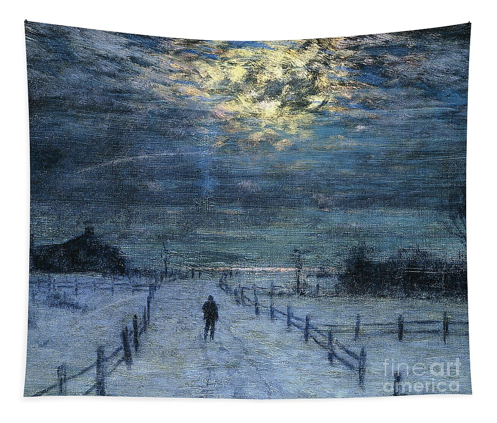 Adult Tapestry featuring the painting A Wintry Walk by Lowell Birge Harrison