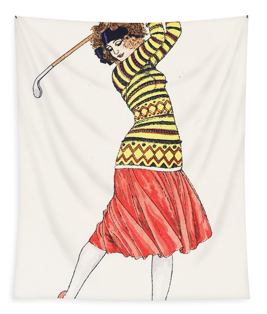 Golf Tapestry featuring the painting A Woman In Full Swing Playing Golf by French School