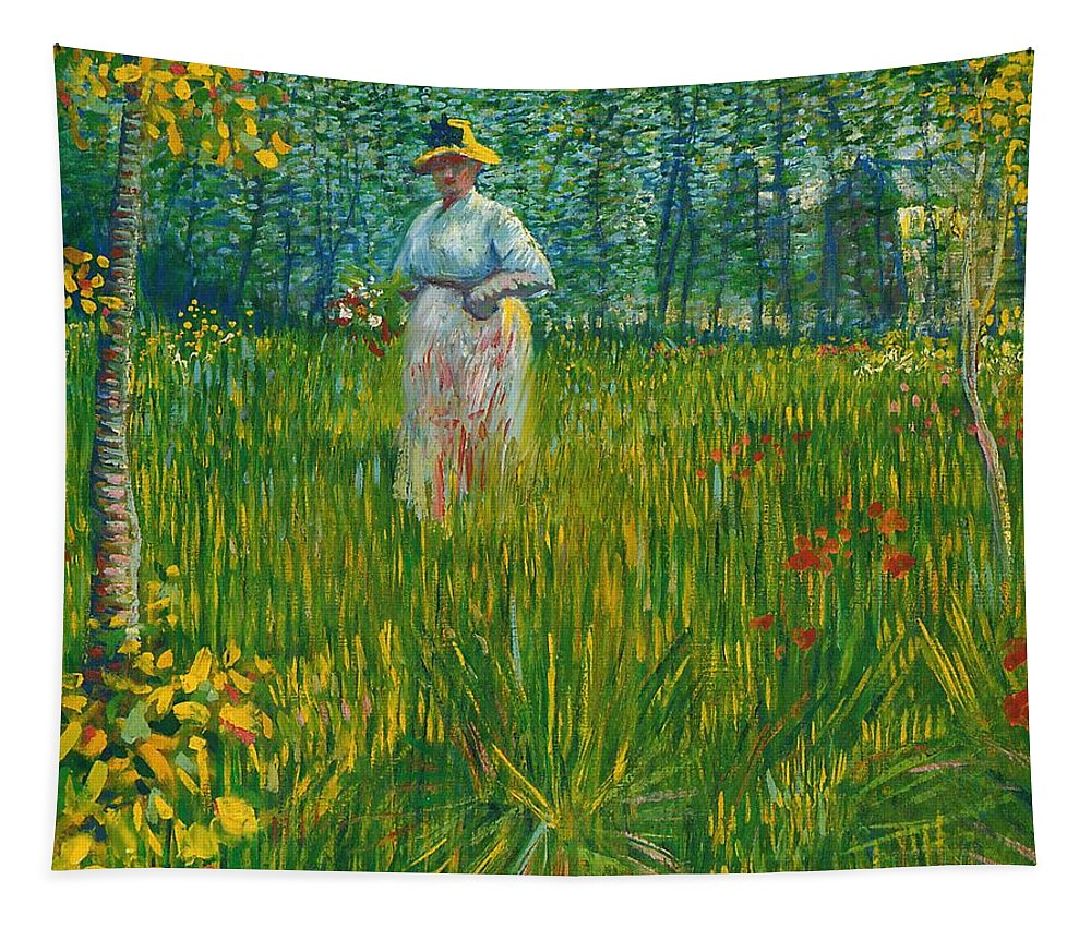 Vincent Willem Van Gogh Tapestry featuring the painting A Woman Walking In A Garden Van Gogh 1887 by Movie Poster Prints