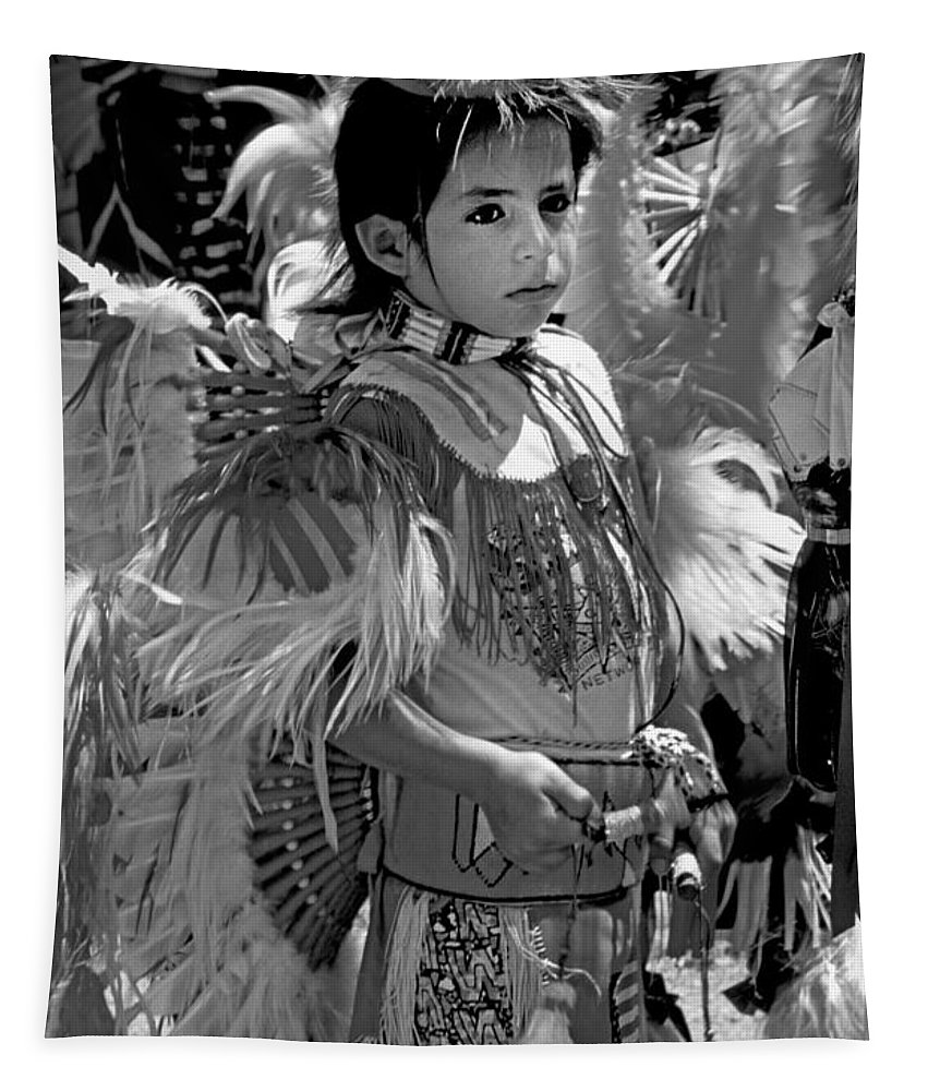 Pow Wow Tapestry featuring the photograph A Young Warrior - B W by Paul W Faust - Impressions of Light