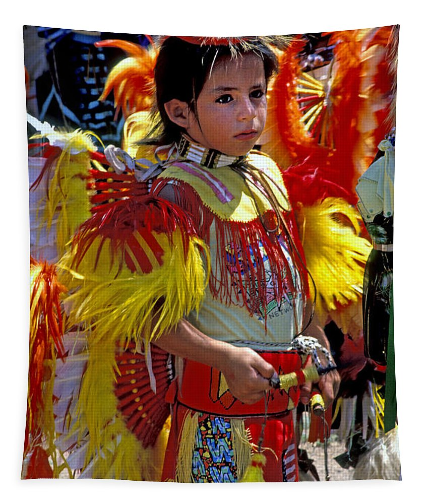Pow Wow Tapestry featuring the photograph A Young Warrior by Paul W Faust - Impressions of Light