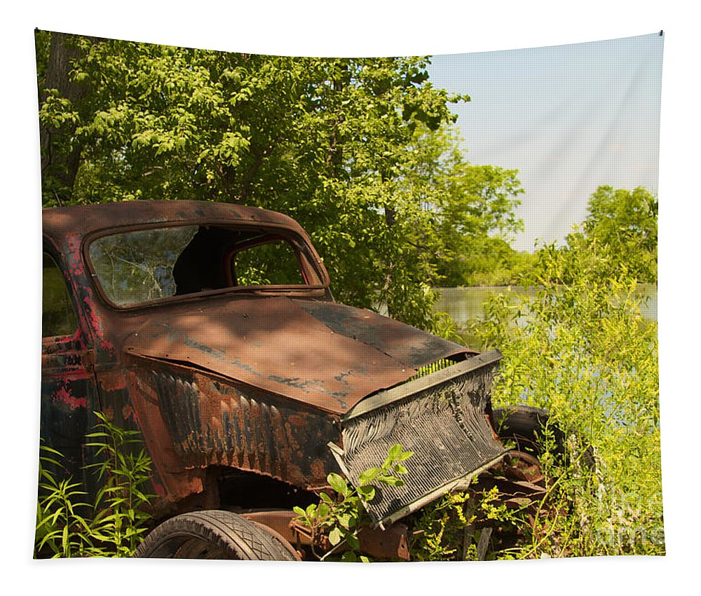 Gas Tapestry featuring the photograph Abandoned Car by William Norton