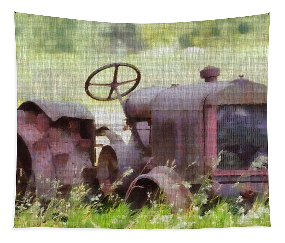 Abandoned Tractor On The Farm Tapestry featuring the painting Abandoned Tractor On The Farm by Dan Sproul