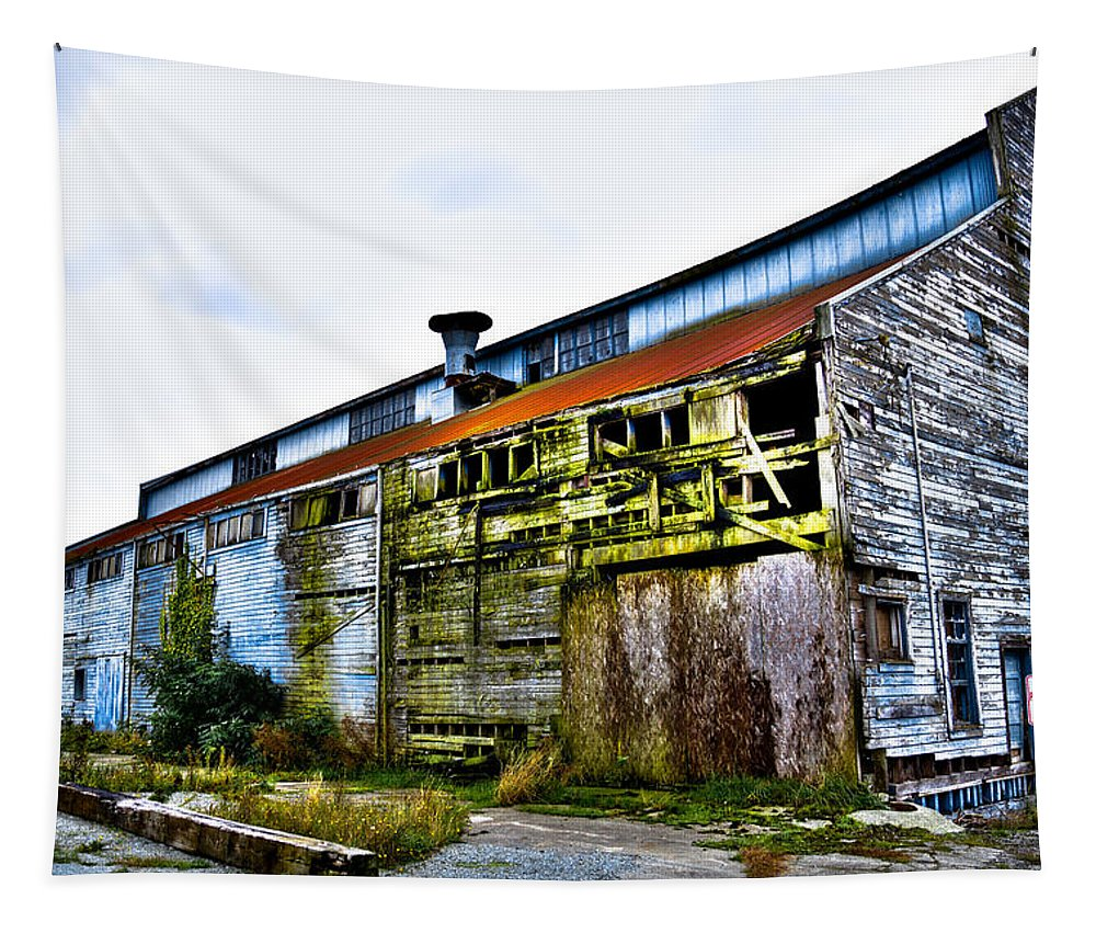 Swinomish Channel Tapestry featuring the photograph Abandoned Warehouse On The Swinomish Channel - La Conner Washington by David Patterson