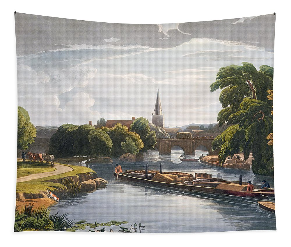 Barge Tapestry featuring the drawing Abingdon Bridge And Church, Engraved by William Havell