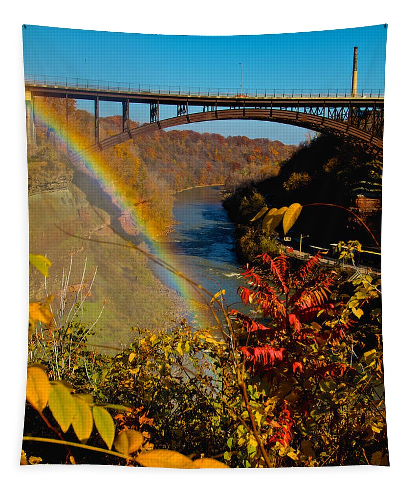 Lower Falls Tapestry featuring the photograph Above The Falls by William Norton