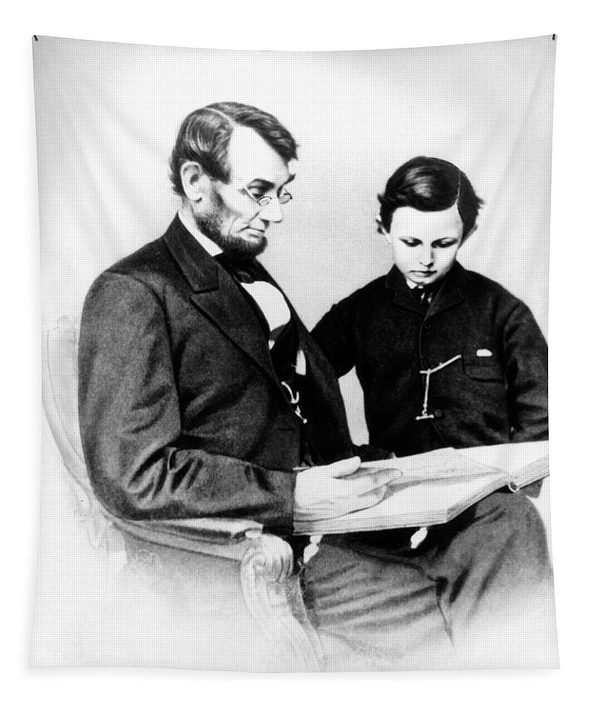 Vertical Tapestry featuring the photograph Abraham Lincoln And Tad by Anonymous