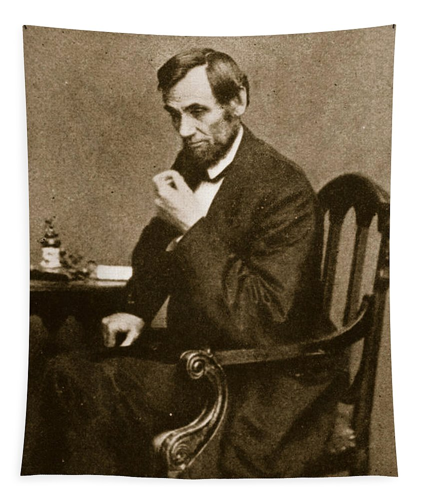 Male Tapestry featuring the photograph Abraham Lincoln Sitting At Desk by Mathew Brady