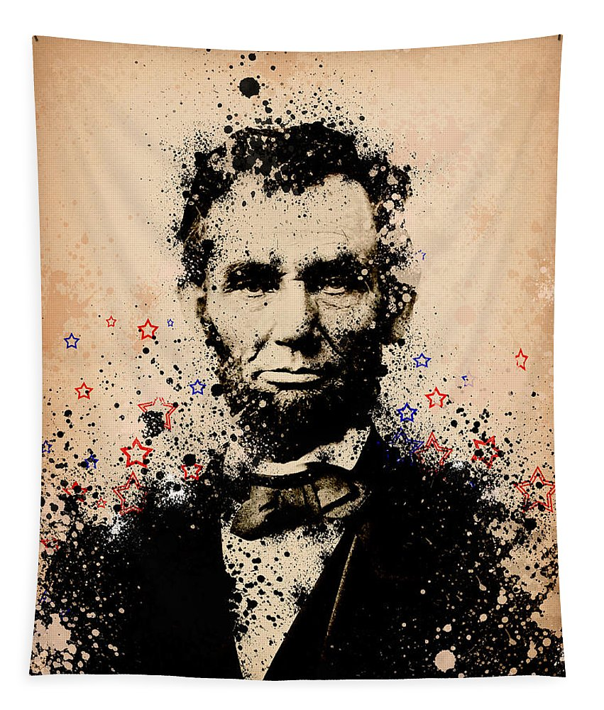 Abraham Lincoln Tapestry featuring the painting Abraham Lincoln Splats Color by Bekim M