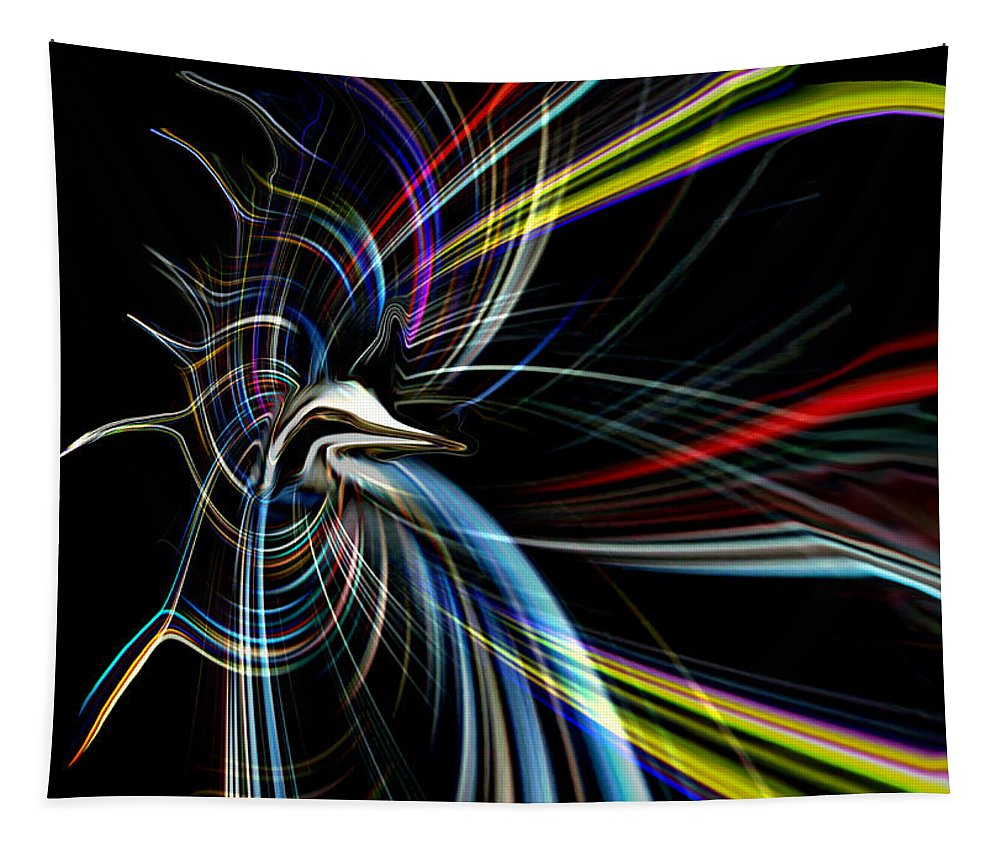 Art Tapestry featuring the digital art Abstract Bird In Light by Linda Galok