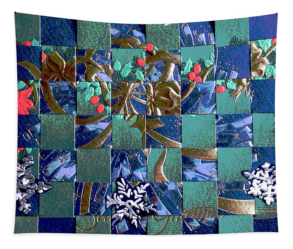 Abstract Tapestry featuring the mixed media Abstract Card by Steve Karol
