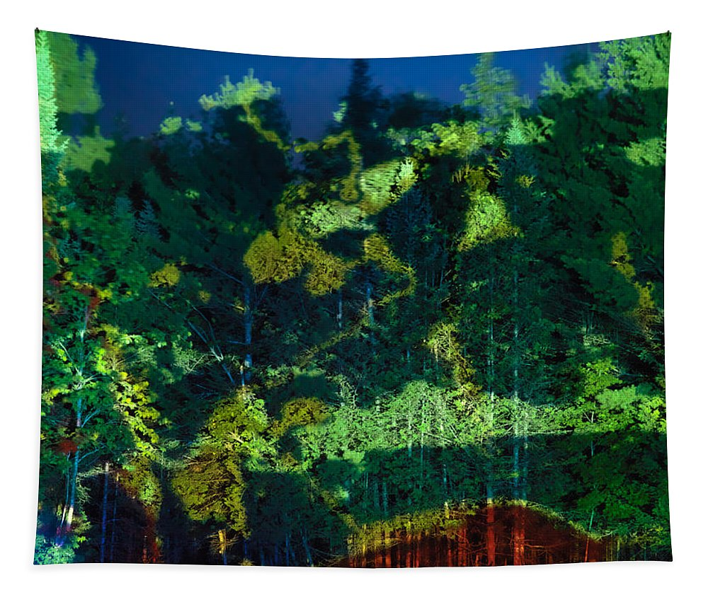 Abstract Tapestry featuring the photograph Abstract Colorful Light Projection On Trees by Oleksiy Maksymenko