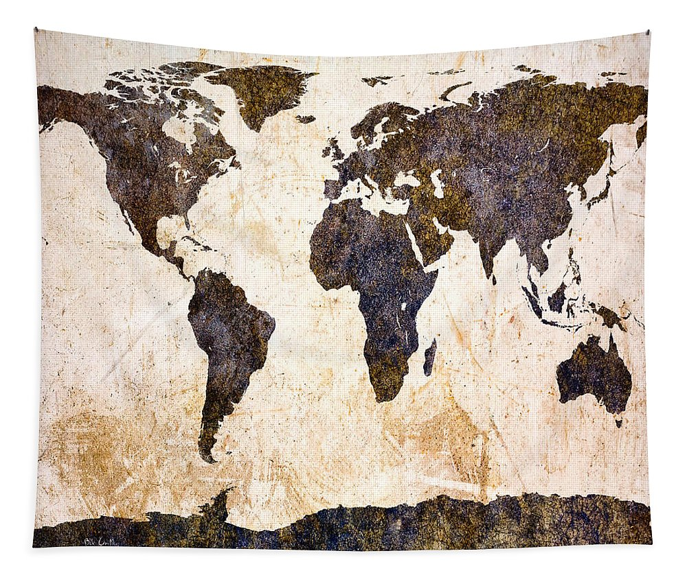 Map Tapestry featuring the digital art Abstract Earth Map by Bob Orsillo
