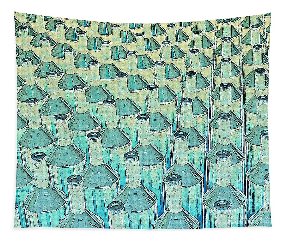 Abstract Tapestry featuring the digital art Abstract Green Glass Bottles by Phil Perkins