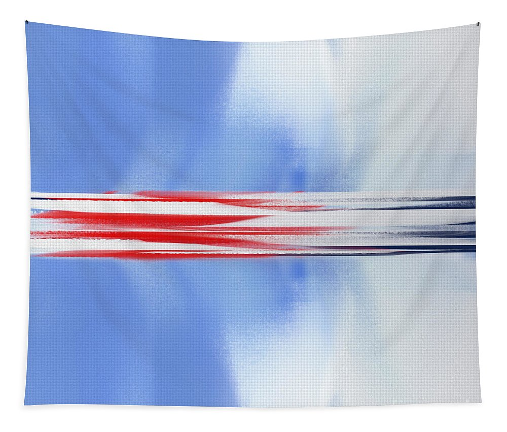 Andee Design Abstract Tapestry featuring the digital art Abstract Red White And Blue Silver Rocket Square by Andee Design
