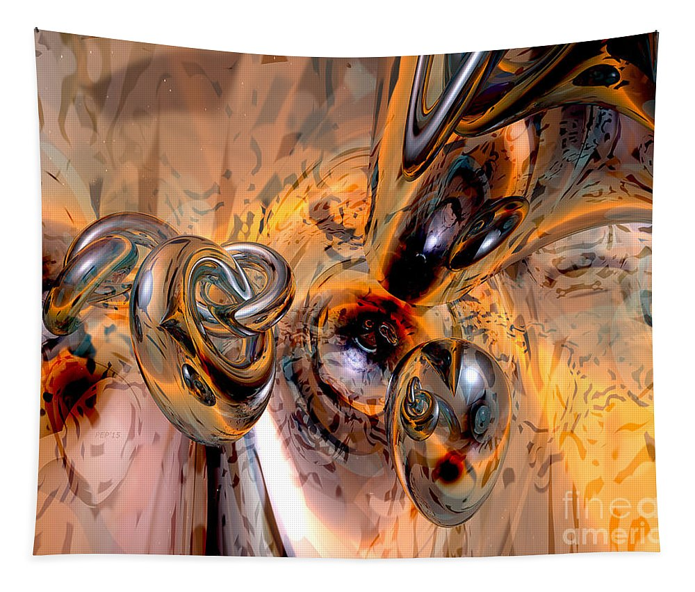 Abstract Tapestry featuring the digital art Abstract Ring Connections by Phil Perkins