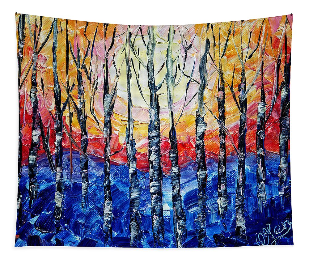 Art Tapestry featuring the painting Abstract Sunset by OLena Art Brand