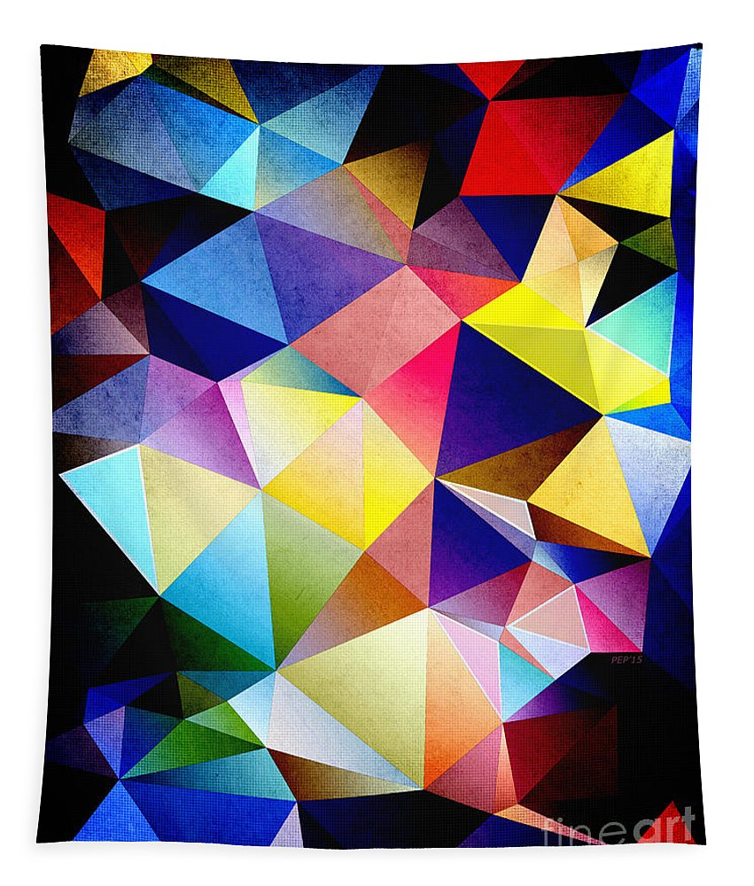 Texture Tapestry featuring the digital art Abstract Triangles And Texture by Phil Perkins