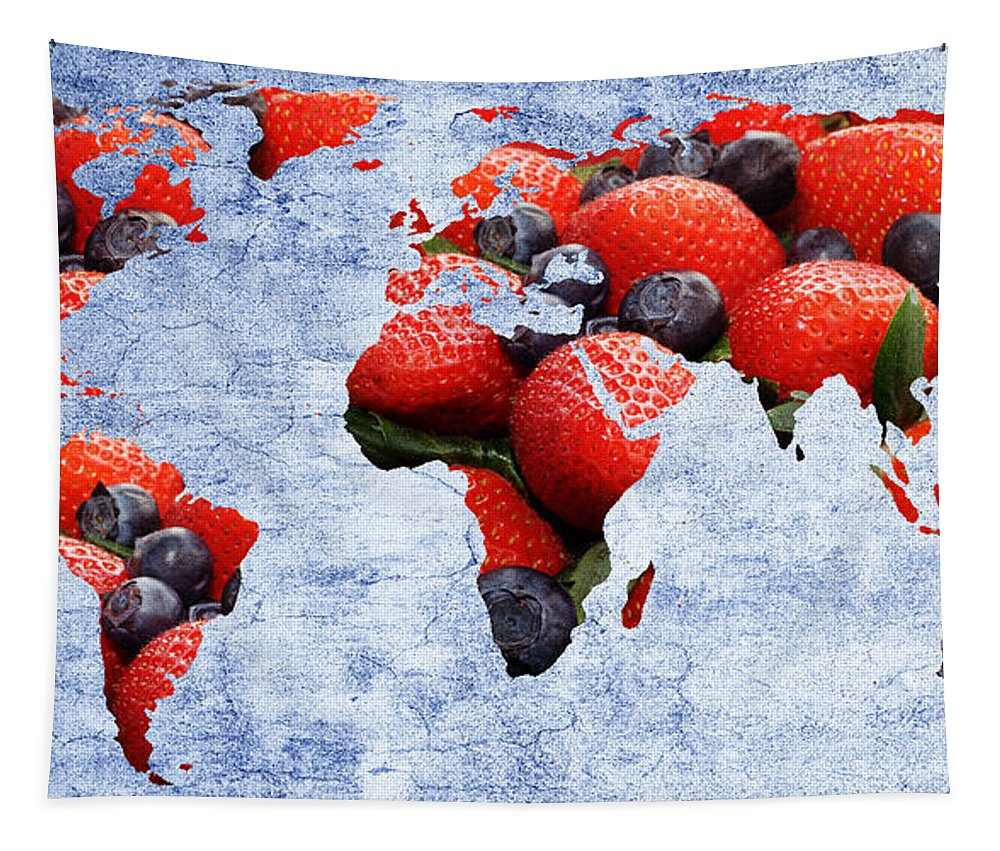 Andee Design Tapestry featuring the photograph Abstract World Map - Berries And Cream - Blue by Andee Design