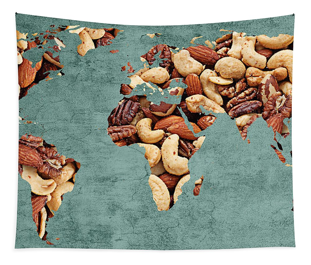 Abstract Tapestry featuring the digital art Abstract World Map - Mixed Nuts - Snack - Nut Hut by Andee Design