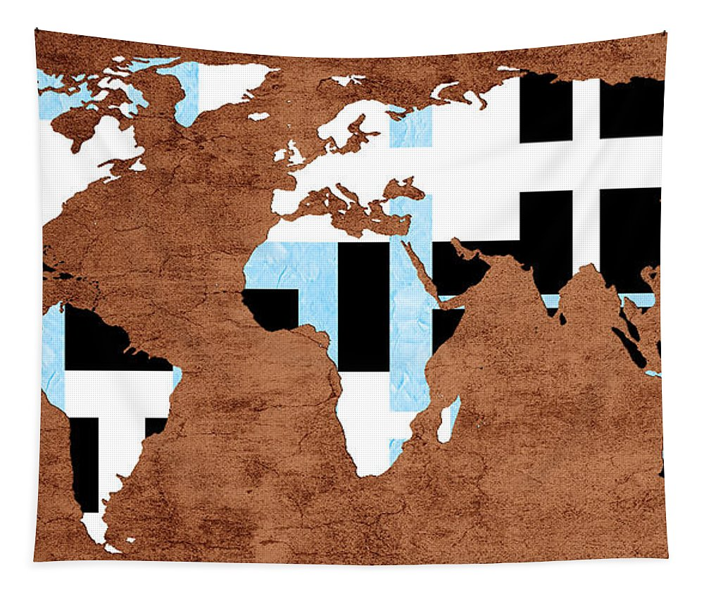 Abstract Tapestry featuring the digital art Abstract World Map - Which Way Is Up - Painterly by Andee Design