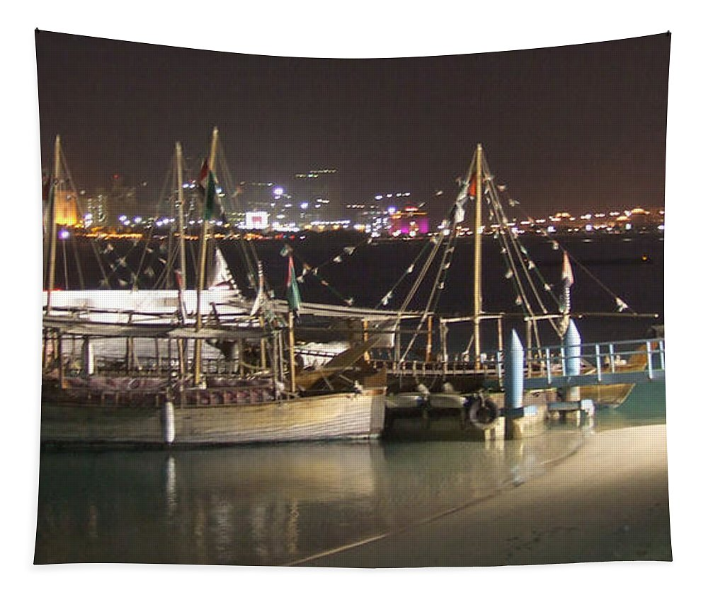 Abu Dhabi Tapestry featuring the photograph Abu Dhabi At Night by Andrea Anderegg