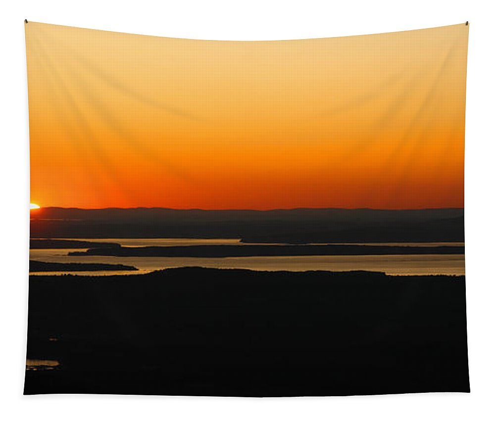 Sunset Tapestry featuring the photograph Acadia Sunset by Olivier Le Queinec