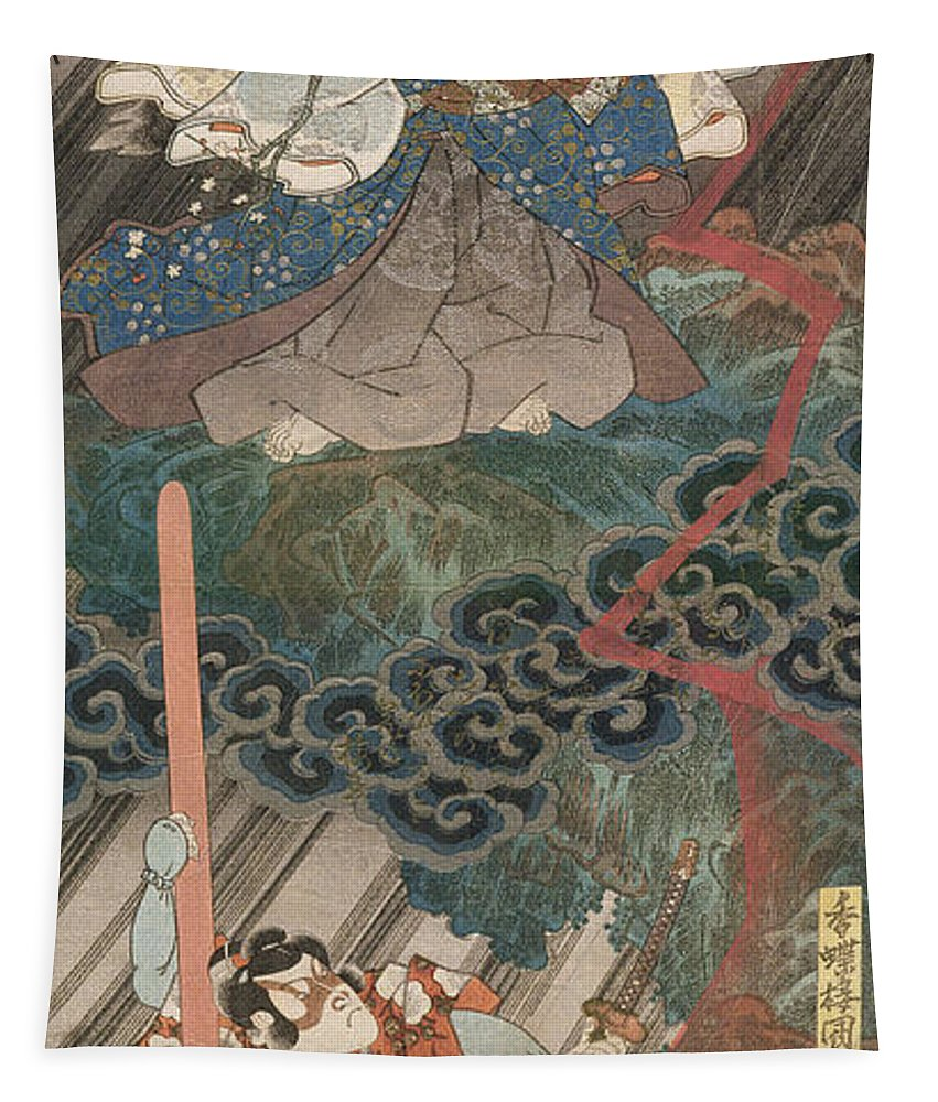 Japan Tapestry featuring the painting Actors Ichikawa Danjuro Vii As Kan Shojo by Utagawa Kunisada