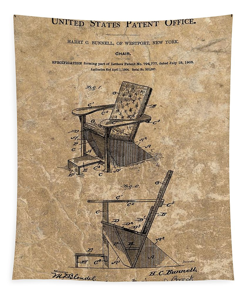 Adirondack Chair Patent Tapestry featuring the mixed media Adirondack Chair Patent by Dan Sproul