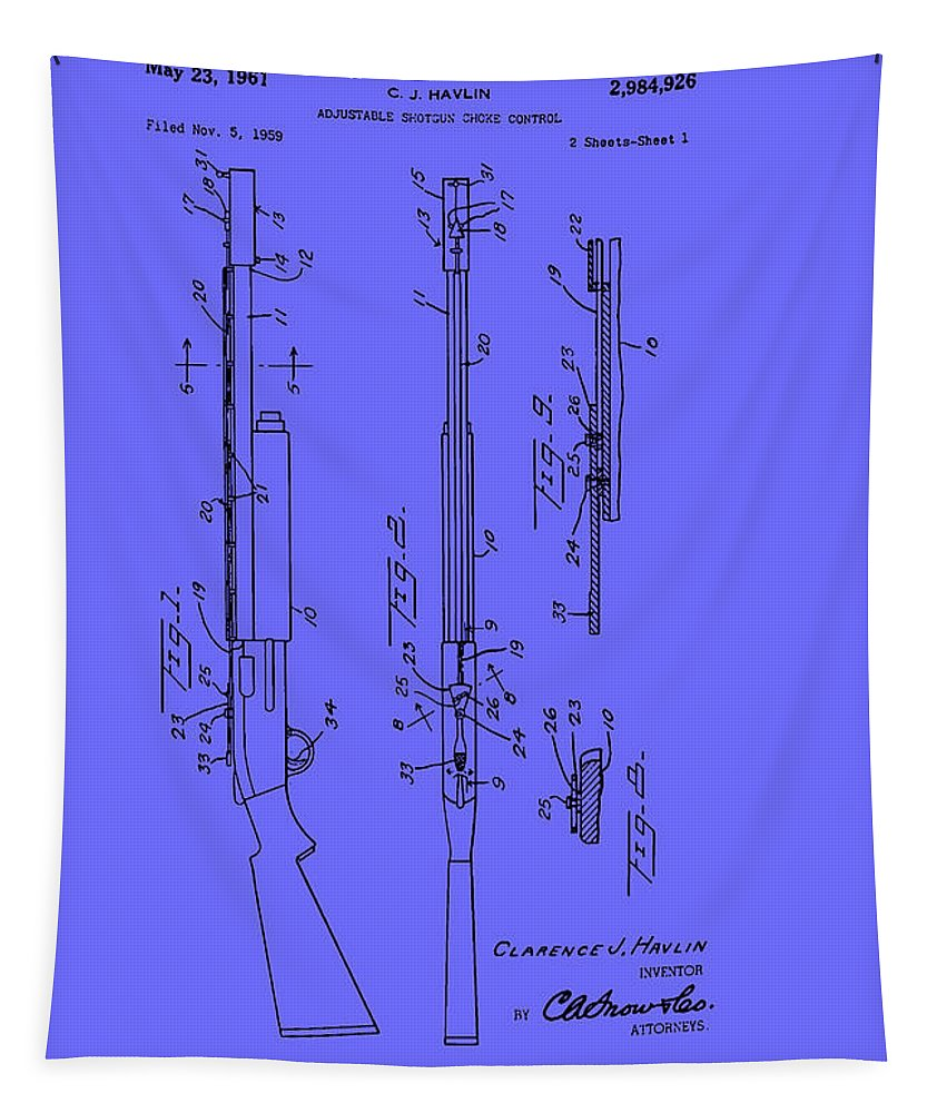 Patent Tapestry featuring the drawing Adjustable Shotgun Choke Control Patent by Mountain Dreams