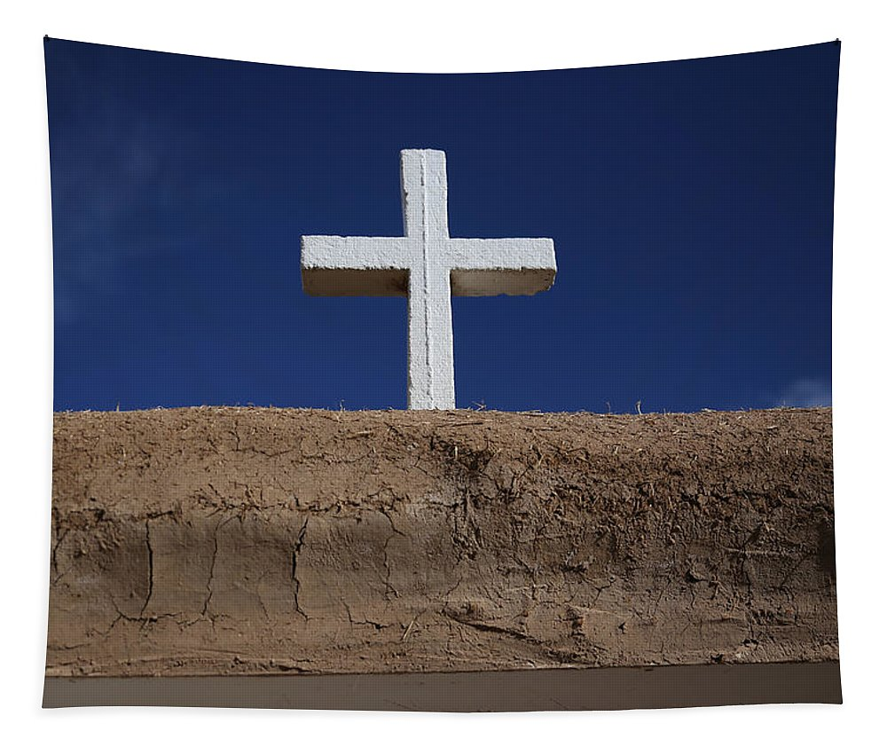 Adobe Tapestry featuring the photograph Adobe And Cross by Lynn Sprowl