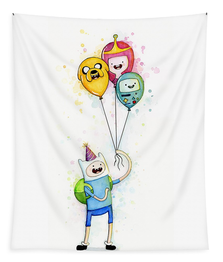 Jake Tapestry featuring the painting Adventure Time Finn with Birthday Balloons Jake Princess Bubblegum BMO by Olga Shvartsur