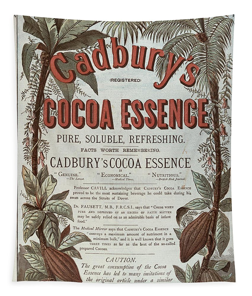 Chocolate Tapestry featuring the painting Advertisement For Cadburs Cocoa Essence From The Graphic by English School