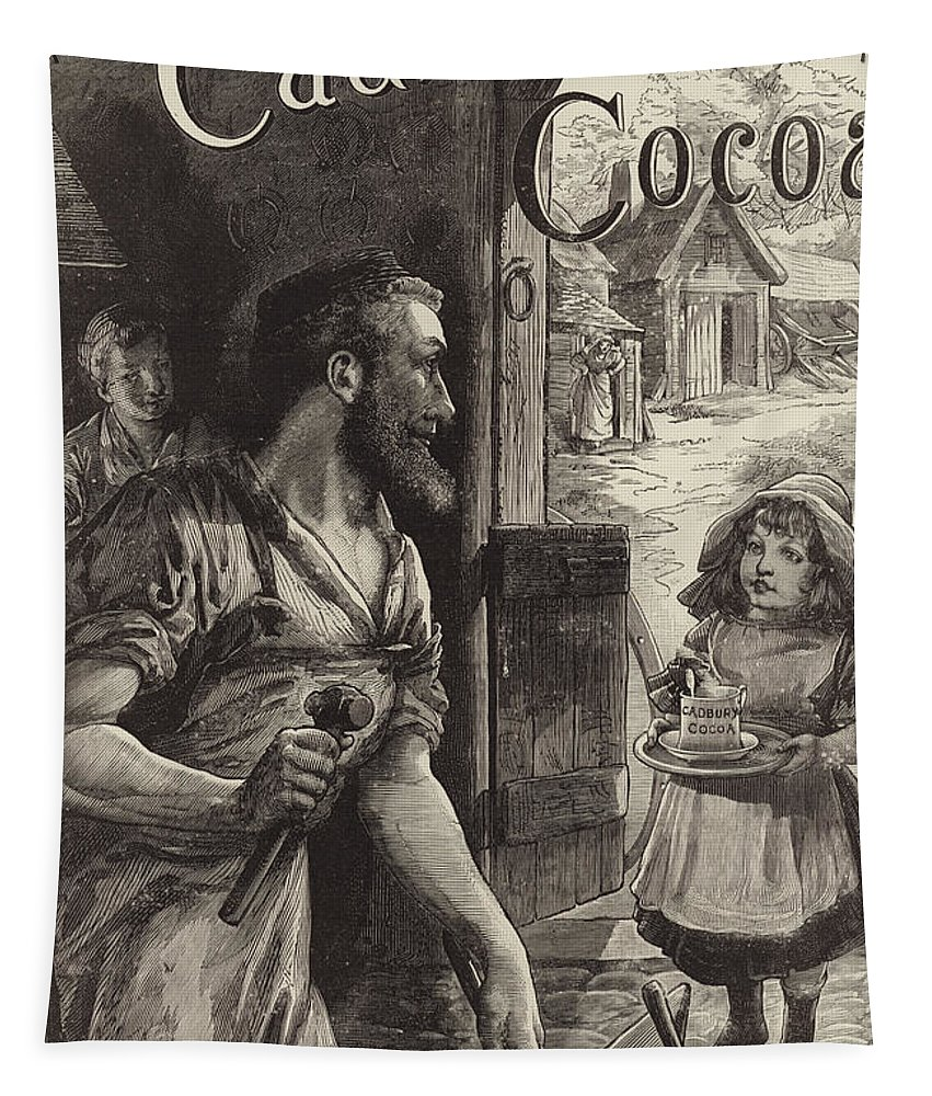 Blacksmiths Tapestry featuring the drawing Advertisement For Cadburys Drinking Cocoa by English School