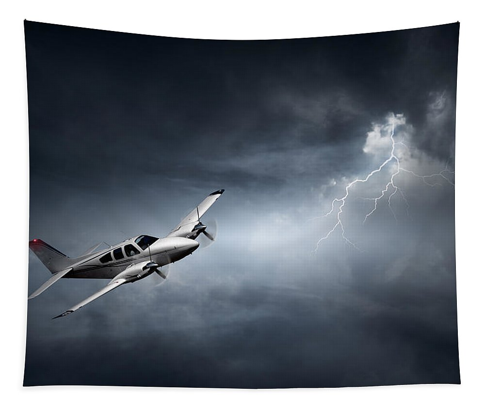 Aeroplane Tapestry featuring the photograph Risk - Aeroplane In Thunderstorm by Johan Swanepoel