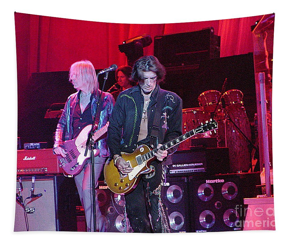 Aerosmith Tapestry featuring the photograph Aerosmith-joe Perry-00019-1 by Gary Gingrich Galleries