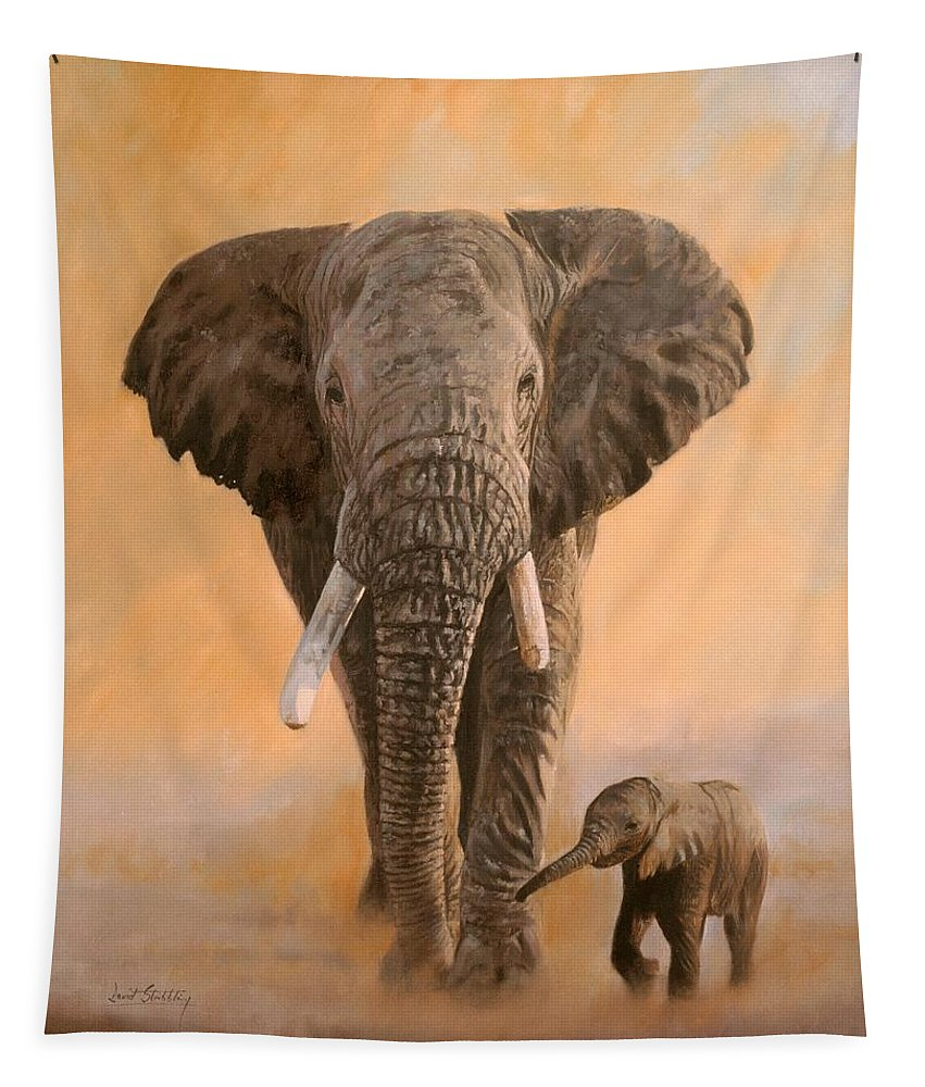 Elephant Tapestry featuring the painting African Elephants by David Stribbling