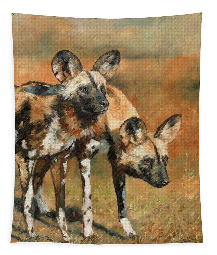 Wild Dogs Tapestry featuring the painting African Wild Dogs by David Stribbling